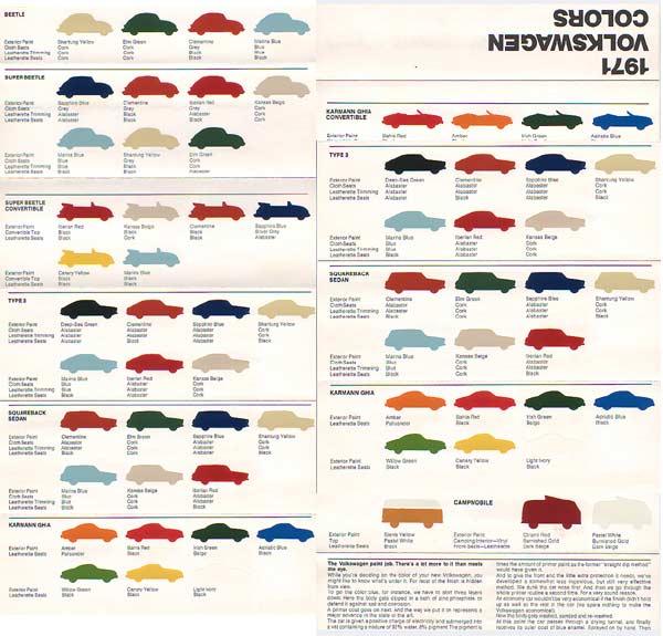 Volkswagen Dealers In Maine: Vw Paint Colors 1972